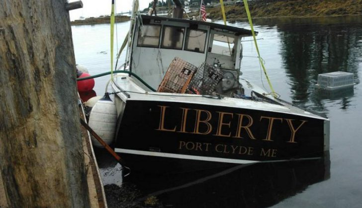 The Liberty, which belongs to Port Clyde, Maine, lobsterman Tony Hooper, was intentionally sunk three times in six weeks in 2016. Photo courtesy Tony Hooper.