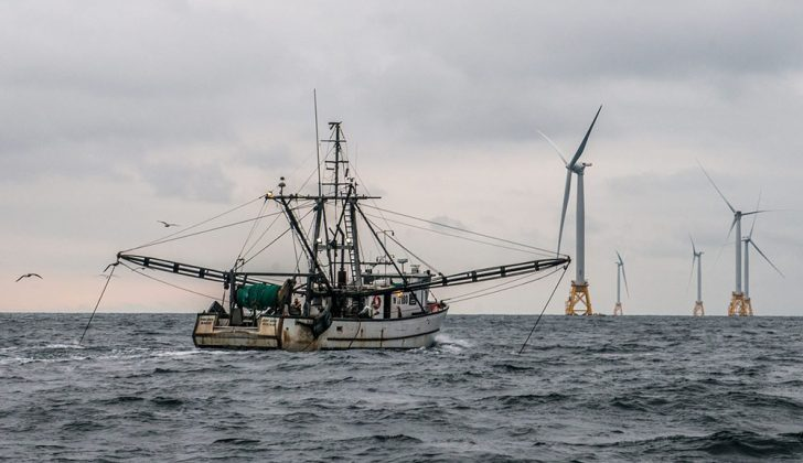 The trawler Virginia Marise from Point Judith, R.I., near the Block Island Wind Farm. Deepwater Wind photo.