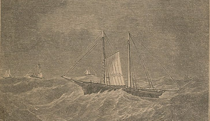 An illustration on the cover of The Fishermen's Memorial & Record Book, published 1873, depicts Gloucester fishing schooners riding out a winter gale.