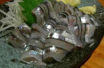 Kibinago sashimi, made from a fish in the herring family, served in Japan. Creative Commons photo by Hajime Nakano.