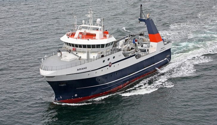 The DNV-classed Araho is the first newbuild U.S.-flagged freezer processor factory trawler in more than 25 years. Eastern Shipbuilding photo.