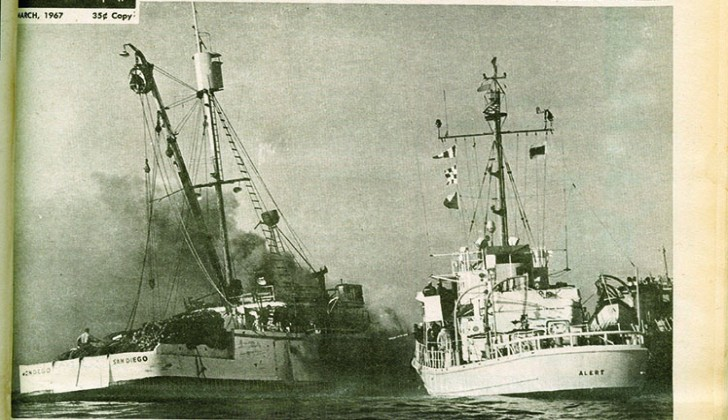 A fire rages aboard the tuna seiner Mondego in 1967. NF archive image.