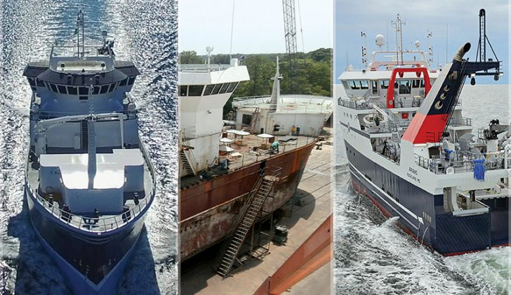 The Big Three of 2016: (Left) Blue North, built at Dakota Creek Industries in Anacortes, Wash. (Middle) Defender, rebuilt at Patti Marine Enterprises in Pensacola, Fla. (Right) Araho, built at Eastern Shipbuilding in Panama City, Fla. Photos (L-R): Kevin J. Suver, Tony Tarnok, O'Hara Corp.