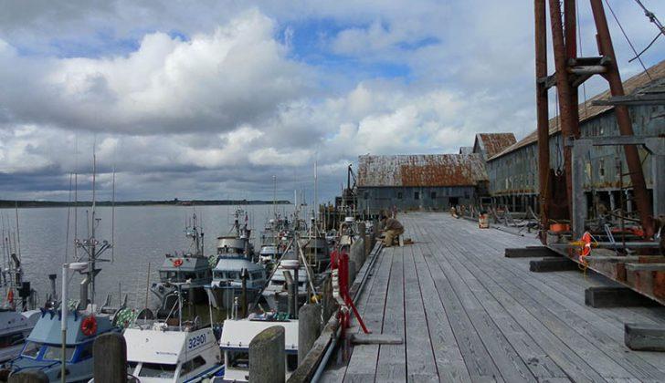 Bristol Bay salmon boats tied up. USCG photo.