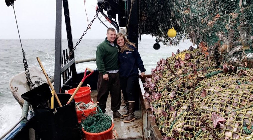 Randy Layman with fiancée Fawn Rhodes. Last tow of Fawns first trawl trip aboard the 66-foot F/V Fate Hunter out of Warrenton, Ore.