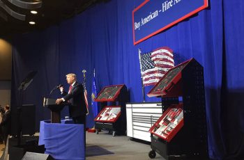 Donald Trump addresses workers at Snap-on in Kenosha, Wisc., about his 'Buy American, Hire American' initiative. White House social media photo by Dan Scavino, Jr.