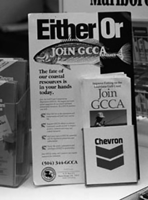 As the Gulf Coast Conservation Association ramped up its campaign to destroy Louisiana's net fishery, Chevron distributed the group's literature to its refinery workers. Chevron also targeted the public through its retail outlets. Robert Fritchey photo.