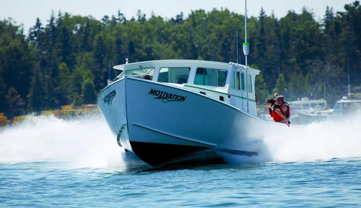 The Motivation, shown here at the Friendship, Maine, lobster boat races, is the fastest Northern Bay 36 boat General Marine has built. Jon Johansen photo.