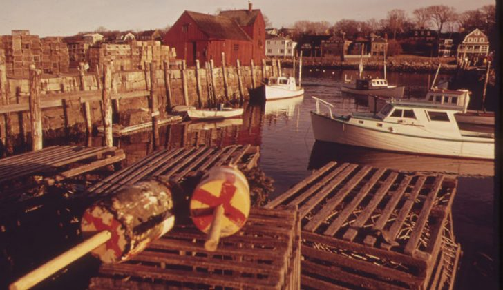 Lobster pots and buoys in Rockport, Mass., 1973. U.S. National Archives photo by Deborah Parks.