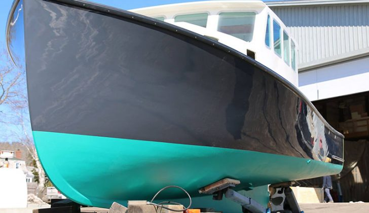 The 40-foot lobster boat Squeeze Play after she was repaired repaired and painted at Gamage Shipyard in South Bristol, Maine. Gamage Shipyard photo.