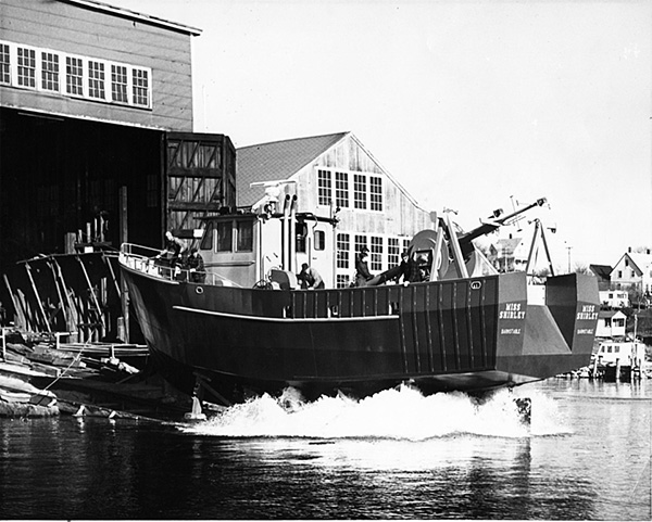 "A 58' steel stern trawler was the first delivery of 1978 for Gamage Shipbuilders. The trawler, Miss Shirley, was built for Peter Sheaffer of Barnstable, Mass. Everett ""Red"" Boutilier photo."