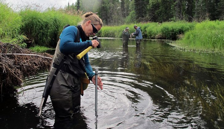 Alaska Fish & Game workers on Rabideux Creek, a tributary to the Susitna River near Talkeetna, Alaska, take readings as part of habitat measurements and fish assessments to better understand what spawning conditions are preferred by salmon here. USFWS photo by Katrina Mueller.