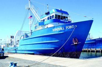 The Windmill Point is one of two converted offshore oil supply vessels to be used as menhaden steamers. Larry Chowning photo.