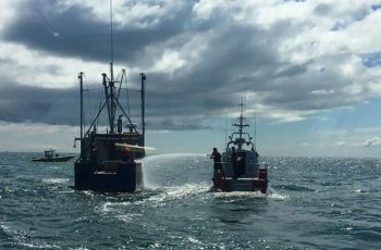 A 42-foot boat crew from U.S. Coast Guard Station Chatham helped put out an engine room fire on the fishing vessel Jupiter in Nantucket Sound on May 11, 2017. USCG photo.