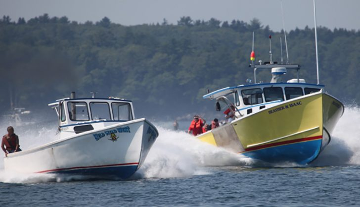The Wild, Wild West and the Heather & Isaac running hard at the 2015 lobster boat races in Pemaquid, Maine. Jon Johansen photo.
