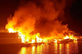 A fire that destroyed 20,000 traps and eight vessels early on the morning of June 5, 2017 at the Carlos Seafood Co. in Marathon, Fla. Monroe County Sheriff's Office photo.