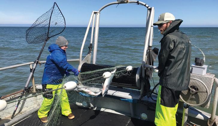 Max Mezich and Jenni Baker aboard the Jennifer Lynn, a 42-foot salmon gillnetter hailing out of Port Moller, Alaska.