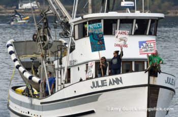 Protesting Farmed Salmon Rich Passage, Puget Sound Washington U.S.A.