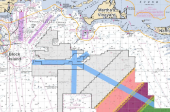 Proposed vessel transit corridors (light blue) lanes through offshore wind energy areas off Massachusetts will be part of a draft Coast Guard plan expected in late 2019. Coast Guard image.
