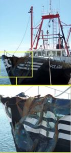 The Polaris suffered heavy bow damage in the accident but stayed afloat and under its own power. Coast Guard photo