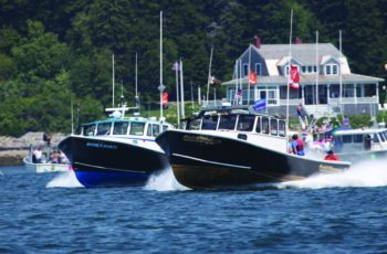 Gold Digger, at 40.8 mph, edges out Danica Hailey at the Harpswell, Me., lobster boat races July 29, 2019. Jon Johansen photo.