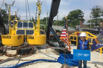 A metocean research buoy, to be deployed in the New York Bight in studies to develop offshore wind energy, was being prepared Wednesday at the Miller's Launch yard on Staten Island, N.Y. NYSERDA photo.
