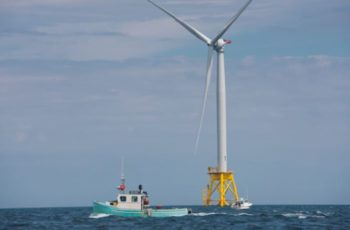 Fishing vessels at Ørsted's Block Island Wind Farm. The company wants to build an 1,100-megwatt turbine array 15 miles off Atlantic City, N.J. Ørsted photo.