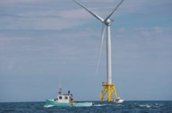 Fishing vessels at Ørsted's Block Island Wind Farm. The company wants to build an 1,100-megwatt turbine array 15 miles off Atlantic City, N.J. Ørsted photo.