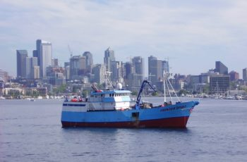 The Clipper Seafoods vessel Frontier Spirit. A pending merger of Clipper and Blue North Fisheries will give the combined fleet control over more than a third of the Alaska freezer longline cod quota. Clipper Seafoods photo.