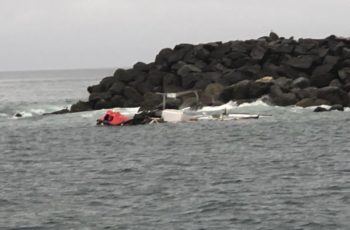 The wreckage of the Fearless II after two crew members were rescued Sept. 22, 2019. Coast Guard photo/PO3 Michael Clark