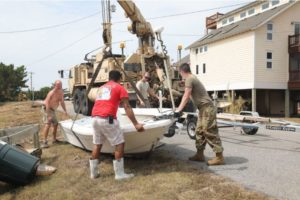 North Carolina National Guard soldiers helped Ocracoke Island residents dealing with the aftermath of Hurricane Dorian;s Sept. 6 landfall there, NCNG photo/SSgt. Leticia Samuels.