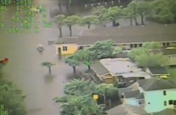 Hurricane Dorian's Sept. 6 landfall flooded Ocracoke Island, N.C. Coast Guard video image/ PO1 Stephen Lehmann.