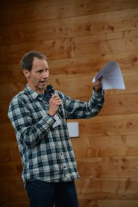 Colle Stowell, director of the educational One Fish Foundation, speaks at the Local Catch Summit. Sam Hill photo.