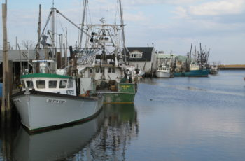 The fishing fleet at Belford, N.J., survived Hurricane Sandy in 2012 but the 9-foot storm surge heavily damaged port facilities. Kirk Moore photo.