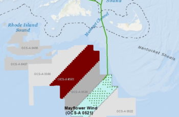 Mayflower Wind proposes to develop 804 megawatts of wind energy starting about 20 miles southwest of Nantucket. Mayflower Wind image.