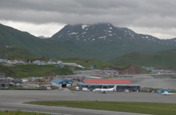 Regular air passenger service was suspended after an Oct 17 crash at the Unalaska-Dutch Harbor airport. City of Unalaska photo.