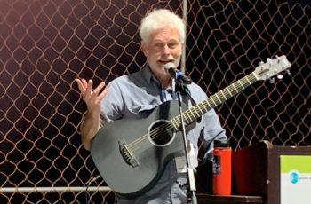 Guitarist Brad Warren performed at Saturday's FisherPoets readings at Pacific Marine Expo. Kirk Moore photo.