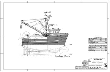 Seattle naval architect Hal Hockema is bringing some of his latest ideas for the West Coast workhorse 58-footer to Pacific Marine Expo this week. Hockema Whalen Myers Associates image.