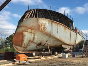 Williams Fabrication and C. Fly Marine collaborated on the design and build of the Viking Power's innovative bow shape. Williams Fabrication photo.