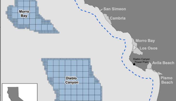 Two potential wind energy development areas have been identified off California's Morro Bay and Diablo Canyon. BOEM image.