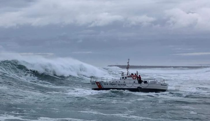 A Coast Guard crew conducting surf training at Coos Bay, Ore. in December 2019. Coast Guard Station Coos Bay photo.
