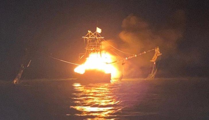 George Barisich's boat Peruga burned and sank Jan. 2, 2020. Photo courtesy George Barisich.