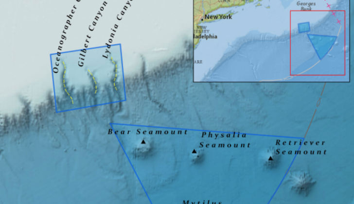 The Northeast Canyons and Seamounts Marine National Monument covers 5,000 square miles south of Georges Bank. NOAA image.