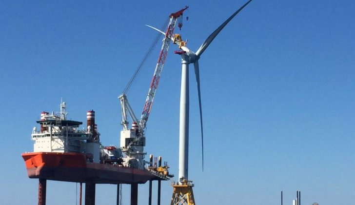 The Block Island Wind Farm under construction in 2016. The extension of a BOEM environmental impact study means Vineyard Wind will miss its targeted operations date of 2022, the company says. Deepwater Wind photo.