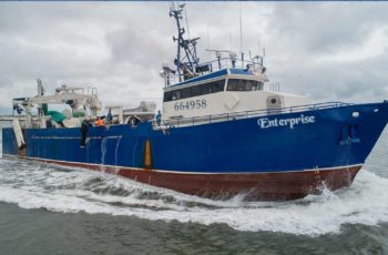 The midwater trawler Enterprise is among six herring vessels whose operators are challenging a new NMFS requirement that they pay for at-sea monitoring. Lund's Fisheries photo.