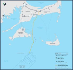 Vineyard Wind is an 800-megawatt offshore wind turbine array planned south of Martha's Vineyard, Mass. Vineyard Wind image.