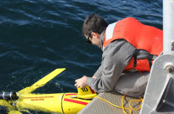 An autonomous undersea glider deployed in December 2019 is helping to map cod spawning habitat around offshore wind energy areas off southern New England. NMFS photo.