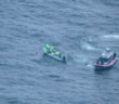A Mexican lancha crew is apprehended by Coast Guard law enforcement in federal waters off the coast of southern Texas April 6, 2020. Coast Guard photo.