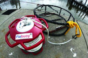 Unlike other acoustic release systems that flake trap lines into containers, the Fiobuoy spools the line around the buoy itself. Oceana photo.